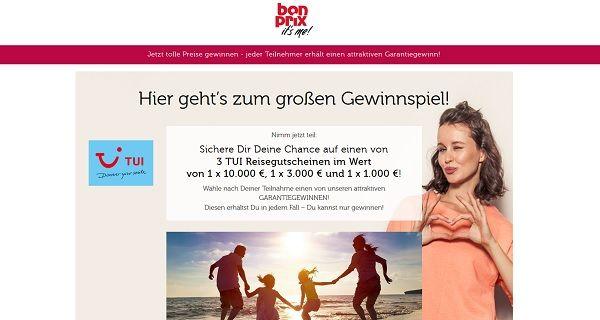 bon prix Gewinnspiel TUI Reisegutscheine 2017