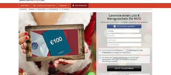 coupons4u adventskalender gewinnspiel 100 euro moo. Black Bedroom Furniture Sets. Home Design Ideas