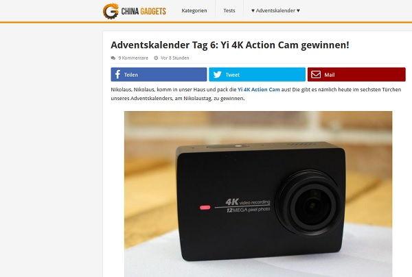 China Gadgets Adventskalender Gewinnspiel 4K action Cam 2017