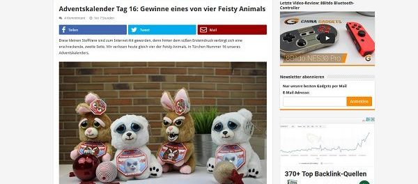 China Gadgets Adventskalender Gewinnspiel Feisty Animals 2017