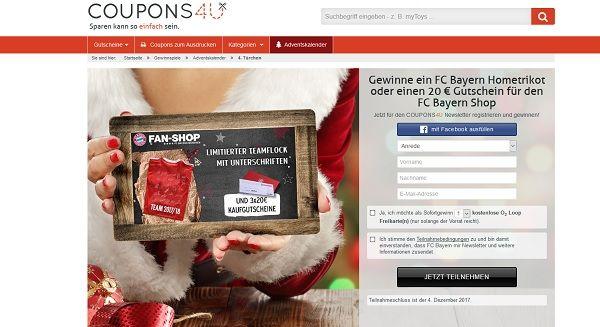 coupons4u adventskalender gewinnspiel fc bayern hometrikot und gutscheine. Black Bedroom Furniture Sets. Home Design Ideas