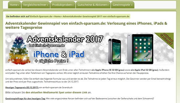 apple ipad und iphone gewinnen adventskalender gewinnspiel einfach. Black Bedroom Furniture Sets. Home Design Ideas