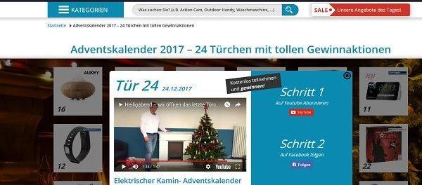 Experten Beraten Adventskalender Gewinnspiel elektrischer Kamin 2017