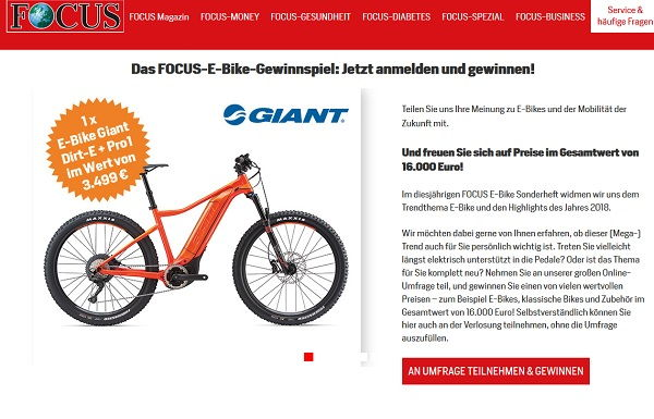 Focus Magazin E-Bike Gewinnspiel 2017