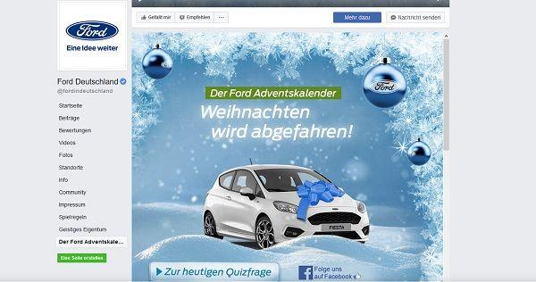 Ford Adventskalender Gewinnspiel Ford Fiesta 2017