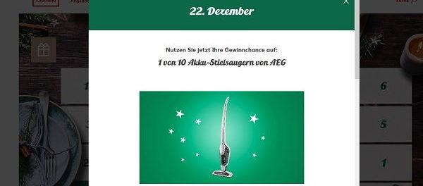 Kaufland Adventskalender Gewinnspiel AEG Staubsauger 2017