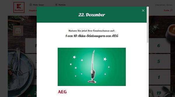 Kaufland Adventskalender Gewinnspiel 10 AEG Staubsauger