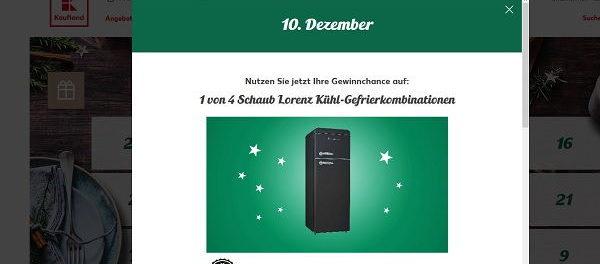 Kaufland Adventskalender Gewinnspiel Kühl-Gefrierkombination 2017