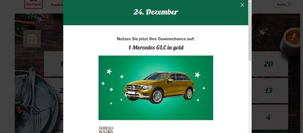 Kaufland Adventskalender Gewinnspiel Mercedes GLC 2017