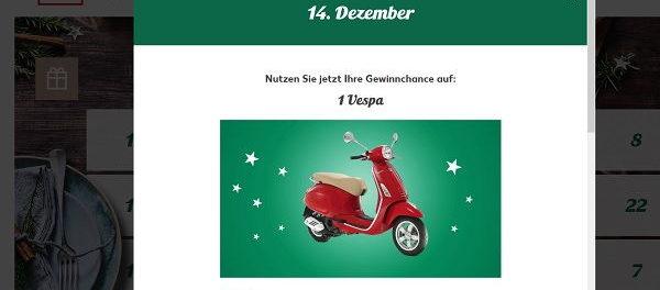 Kaufland Adventskalender Gewinnspiel Vespa Motorroller 2017