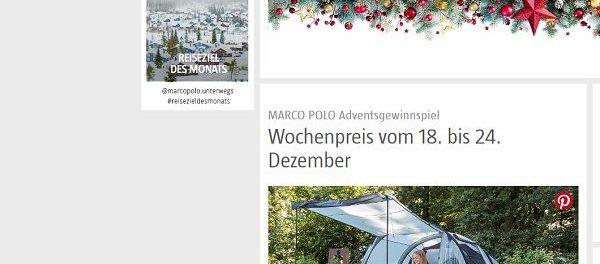 Marco Polo Advents-Gewinnspiel Camping-Set 2017