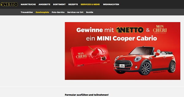 auto gewinnspiel netto und mon cheri mini cooper cabrio. Black Bedroom Furniture Sets. Home Design Ideas