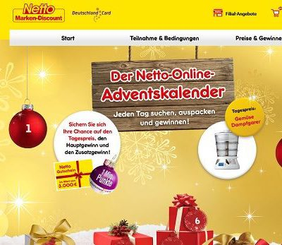Netto Marken Discount Adventskalender Gewinnspiel 2017