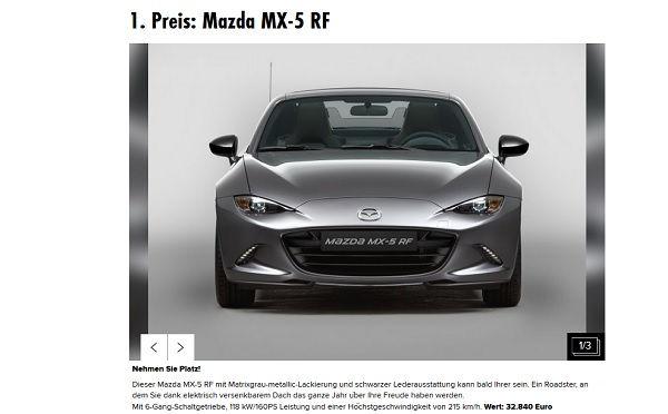Playboy Auto-Gewinnspiel Mazda MX5 Wahl Playmate des Jahres