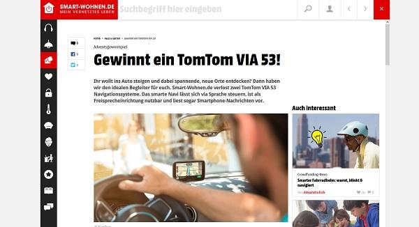 Tomtom Via 53 Navigationsgerät Gewinnspiel Smart Wohnende