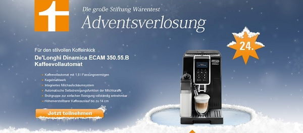 de longhi kaffeevollautomat gewinnspiel stiftung warentest adventskalender. Black Bedroom Furniture Sets. Home Design Ideas