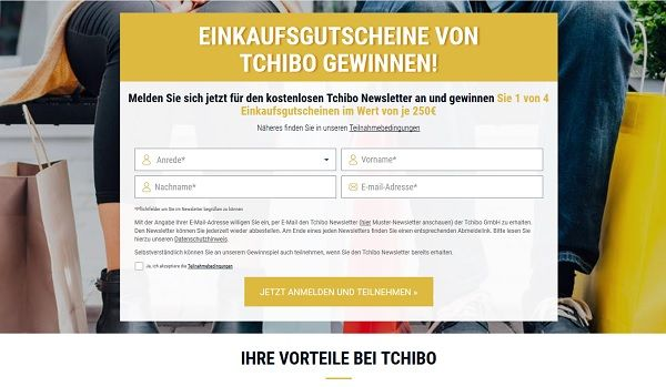 Tchibo Gewinnspiel 250 Euro Einkaufsgutscheine 2017