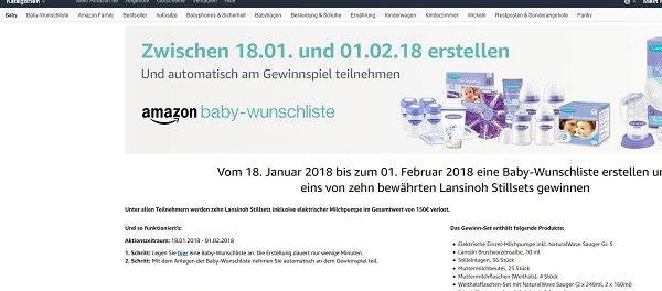 Amazon Gewinnspiel Baby-Wunschliste Stillsets 2018