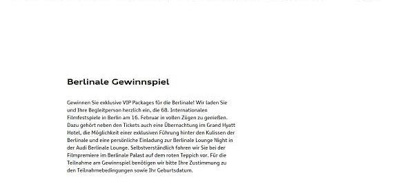 Audi Gewinnspiel Berlinale VIP Package Reise 2018
