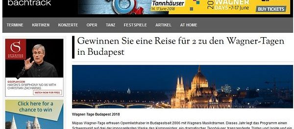 Bachtrack Reise Gewinnspiel Budapest 2018