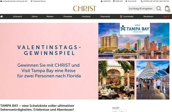 Valentinstag Gewinnspiel Christ Juweliere Florida Reise gewinnen
