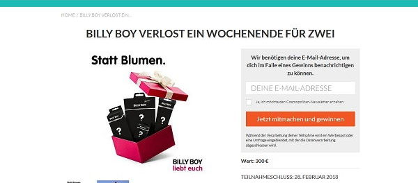 Cosmopolitan Billy Boy Reise Gewinnnspiel 2018