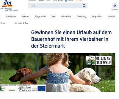 DM Gewinnspiele Bauernhof Urlaub mit Hund 2018