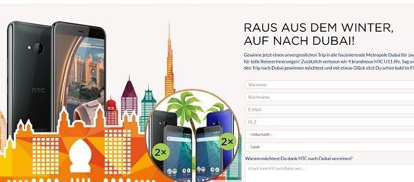 HTC Dubai Reise Gewinnspiel 2018