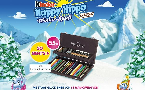 kinder happy hippo gewinnspiel 55 faber castell malkoffer. Black Bedroom Furniture Sets. Home Design Ideas