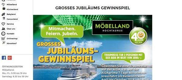 Möbelland Hochtaunus AIDA Reise Gewinnspiel 2018