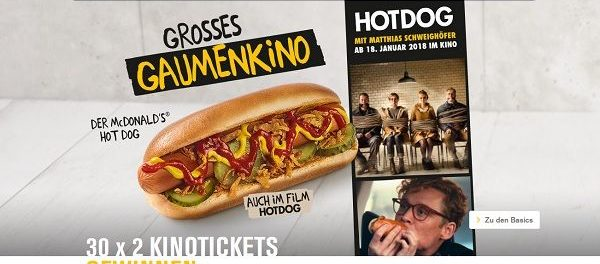 McDonalds Gewinnspiel Hotdog Kinotickets