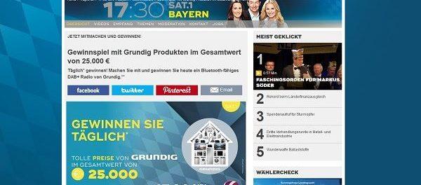 Sat1 Bayern Gewinnspiel täglich Grundig Produkte 2018