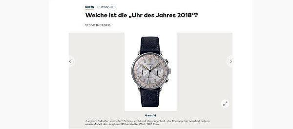 Welt Uhr des Jahres 2018 Gewinnspiel