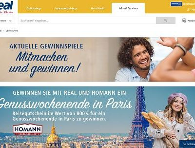 real Gewinnspiel Homann Paris Wochenendreisen 2018