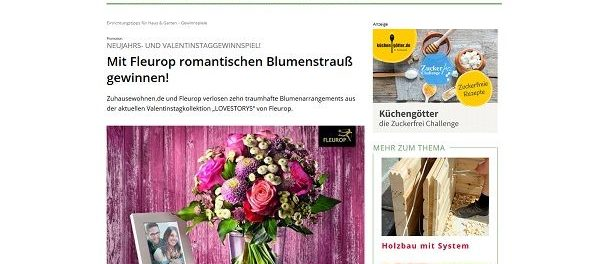 Zuhause Wohnen Gewinnspiel valentinstag gewinnspiel fleurop und zuhause wohnen