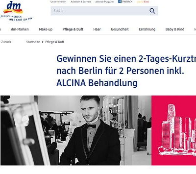 DM Gewinnspiel Alcina Berlin Reise gewinnen