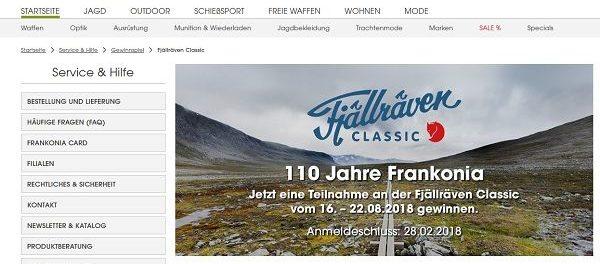 Frankonia Gewinnspiel Fjällraven Classic 2018
