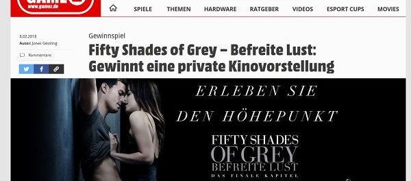 Gamez Gewinnspiel Kinovorstellung 50 Shades of Grey