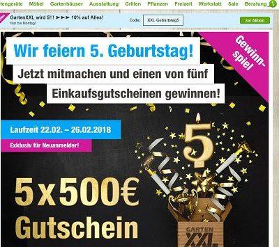 GartenXXL Gewinnspiel Jubiläum Gutscheine 2018