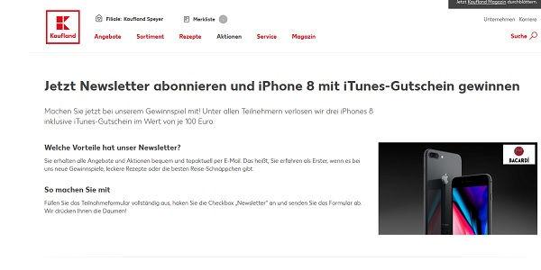 kaufland gewinnspiele apple iphone 8 und itunes gutschein. Black Bedroom Furniture Sets. Home Design Ideas