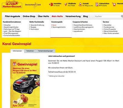 Netto Auto Gewinnspiel Kanzi Äpfel Peugeot 108
