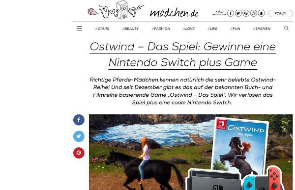 nintendo switch gewinnspiel ostwind das spiel. Black Bedroom Furniture Sets. Home Design Ideas