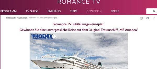 Romance TV Gewinnspiel Kreuzfahrt gewinnen 2018