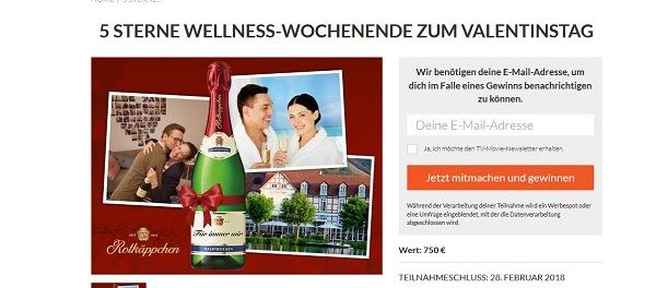tv movie valentinstag gewinnspiel wellness wochenende zu zweit. Black Bedroom Furniture Sets. Home Design Ideas