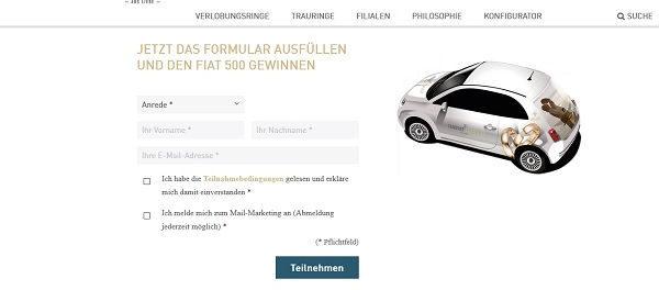 Trauringschmiede Fiat 500 Auto Gewinnspiel 2018