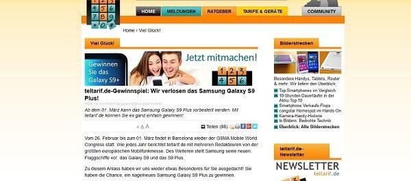 teltarif Gewinnspiel Samsung Galaxy S9