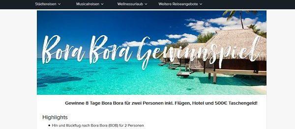travelcircus Gewinnspiel Bora Bora Reise 2018