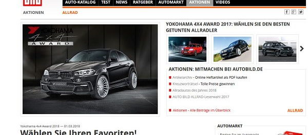 Auto Bild Gewinnspiel Yokohama Award