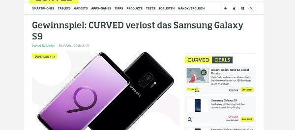 Curved Gewinnspiel Samsung Galaxy S9