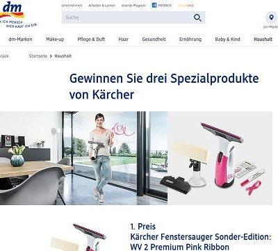 DM Drogerie Gewinnspiel Kärcher Fenstersauger 2018